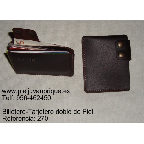 Billetero-Tarjetero doble en Piel