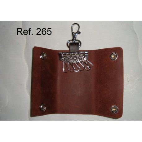 Ref. 265 Llavero mosquetones piel rústica