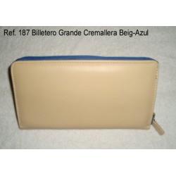 Ref. 187 Billetero Grande Cremallera Beig-Azul
