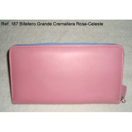 Ref. 187 Billetero Grande Cremallera Rosa-Celeste