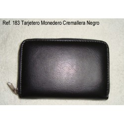 Ref. 183 Tarjetero Monedero Cremallera Negro
