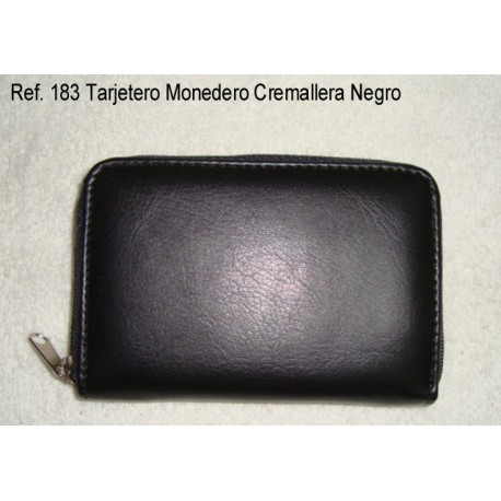 Ref. 183 Tarjetero Cremallera Negro