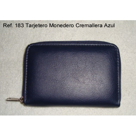 Ref. 183 Tarjetero Cremallera Azul