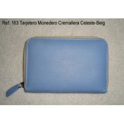 Ref. 183 Tarjetero Monedero Cremallera Celeste-Beig
