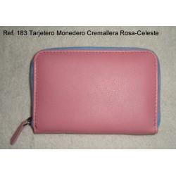 Ref. 183 Tarjetero Monedero Cremallera Rosa-Celeste