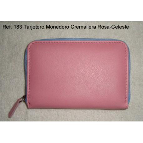 Ref. 183 Tarjetero Cremallera Rosa-Celeste