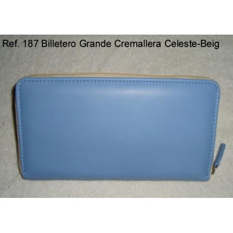 Ref. 187 Billetero Grande Cremallera Celeste-Beig