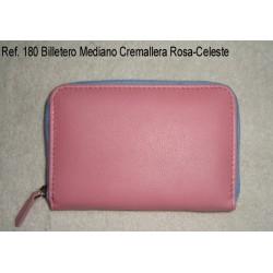 Ref. 180 Billetero Mediano Cremallera Rosa- Celeste
