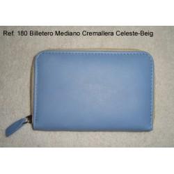 Ref. 180 Billetero Mediano Cremallera Celeste-Beig