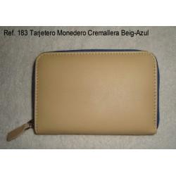 Ref. 183 Tarjetero Monedero Cremallera Beig-Azul