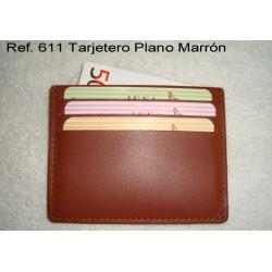 Ref. 611 Tarjetero Plano Marrón