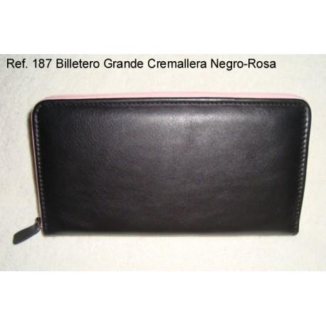 Ref. 187 Billetero Grande Cremallera Negro-Rosa