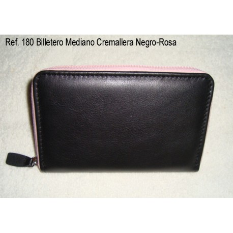 Ref. 180 Billetero Mediano Cremallera Negro-Rosa