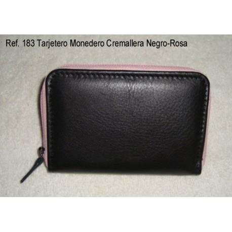 Ref. 183 Tarjetero Monedero Cremallera Negro-Rosa