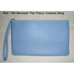 Ref. 189 Neceser Piel Plano Celeste-Beig