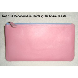 Ref. 188 Monedero Piel Rectangular Rosa