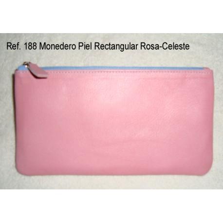 Ref. 188 Monedero Piel Rectangular Rosa-Celeste