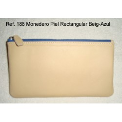 Ref. 188 Monedero Piel Rectangular Beig