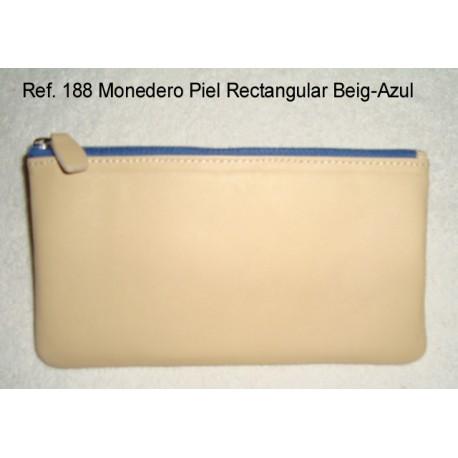 Ref. 188 Monedero Piel Rectangular Beig-Azul
