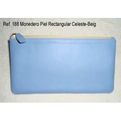 Ref. 188 Monedero Piel Rectangular Celeste-Beig
