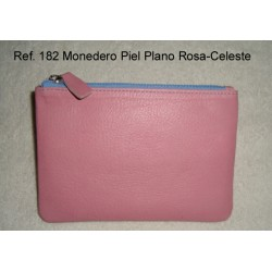 Ref. 182 Monedero Piel Plano Rosa-Celeste