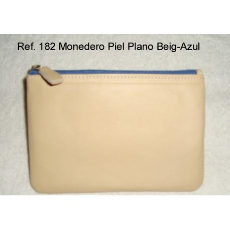 Ref. 182 Monedero Piel Plano Beig-Azul