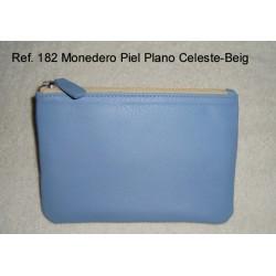 Ref. 182 Monedero Piel Plano Celeste-Beig