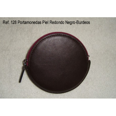 Ref. 128 Portamonedas Piel Redondo Negro-Burdeos