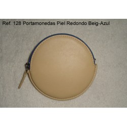 Ref. 128 Portamonedas Piel Redondo Beig-Azul