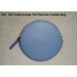 Ref. 128 Portamonedas Piel Redondo Celeste-Beig