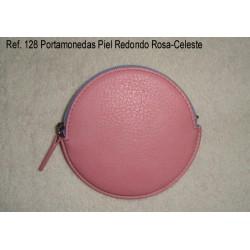 Ref. 128 Portamonedas Piel Redondo Rosa