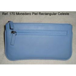 Ref. 170 Monedero Piel Rectangular Celeste