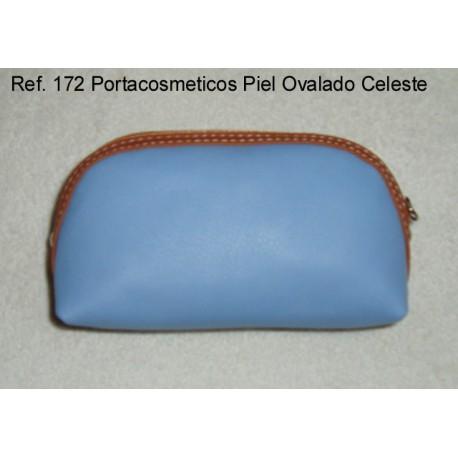 Ref. 172 Porta Cosméticos Piel Ovalado Celeste