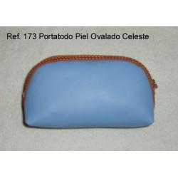 Ref. 173 Porta Todo Piel Ovalado Celeste