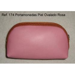 Ref. 174 Porta Monedas Piel Ovalado Rosa
